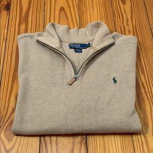 Polo by Ralph Lauren Khaki Quarter Zip Sweater